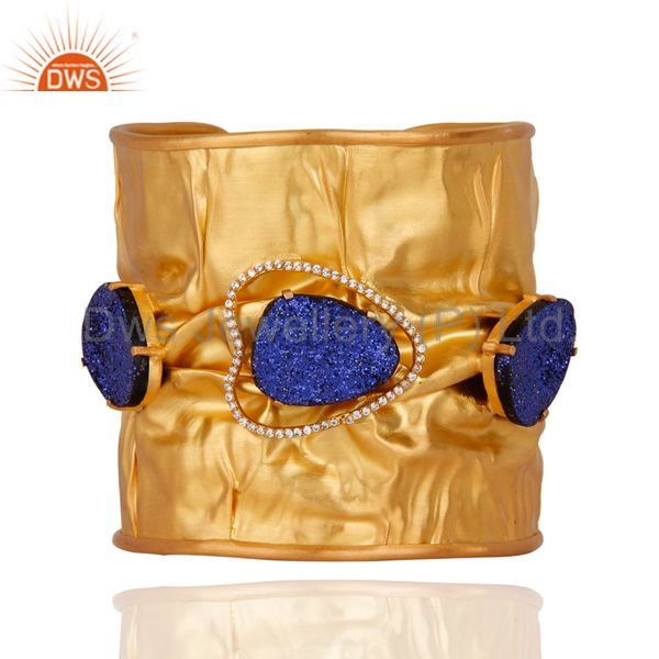 24K Yellow Gold Plated Brass Blue Druzy Agate Designer Cuff Bangle With CZ
