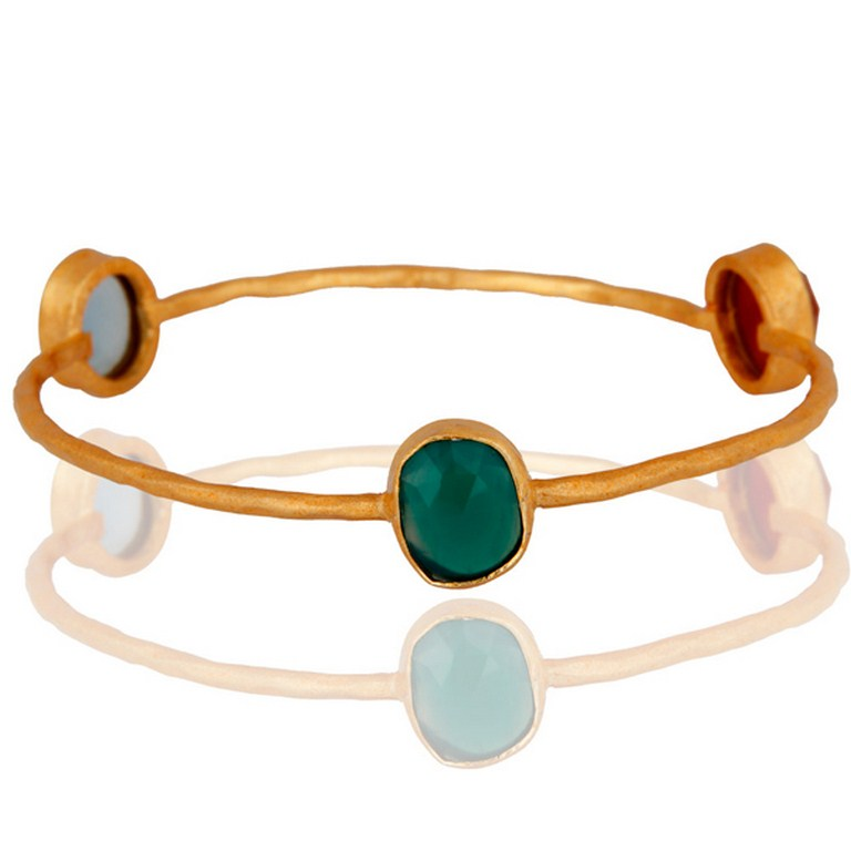 Handmade Gold Plated Green Onyx And Blue Chalcedony Bangle