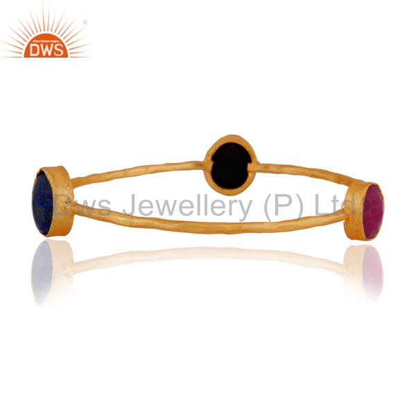 Lapis Lazuli, Red Aventurine And Black Onyx Gemstone Gold Plated Sleek Bangle