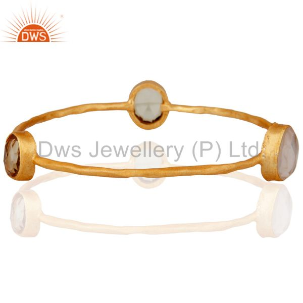 24k Yellow Gold Plated Bangle With Semi-precious Stones Stackable Jewelry
