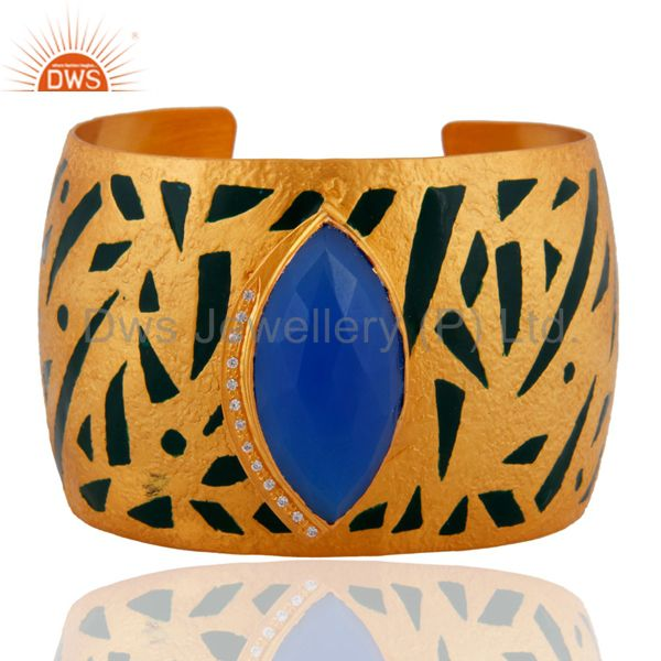 Blue Chalcedony CZ Womens Gold Plated Painted Enamel Wide Cuff Bracelet Bangle