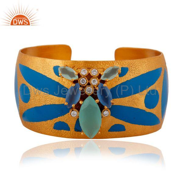 Aqua Chalcedony And CZ Gold Plated Handcrafted Cuff Bracelet Fashion Jewelry