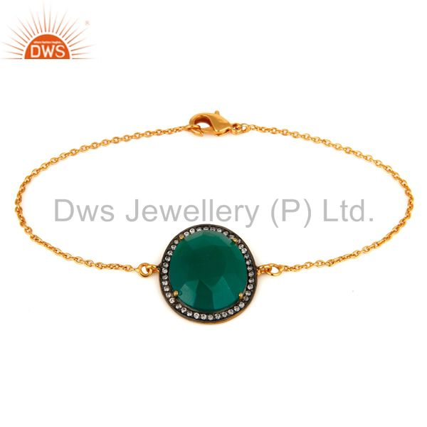 14K Yellow Gold Plated Cubic Zirconia And Green Onyx Fashion Chain Bracelet
