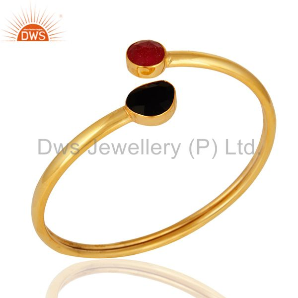Red Aventurine And Black Onyx Gemstone Adjustable Bracelet With 24K Gold Plated