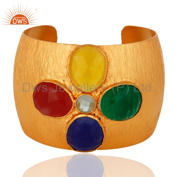 24K Gold Plated Over Brass Handcrafted Aventurine Gemstone Wide Cuff Bracelet