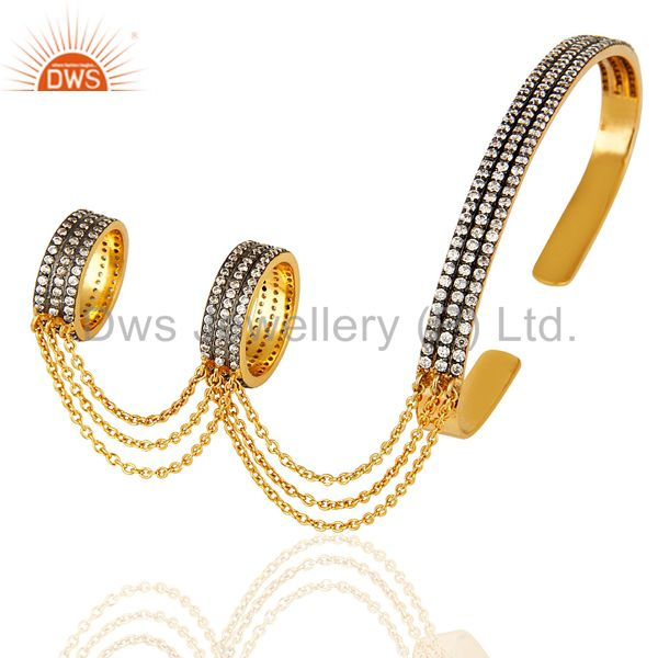 14K Gold Plated Brass Pave CZ Slave Bracelet With Two Finger Ring