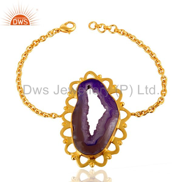 Natural Raw Druzy Agate Handmade Bracelet With Yellow Gold Plated