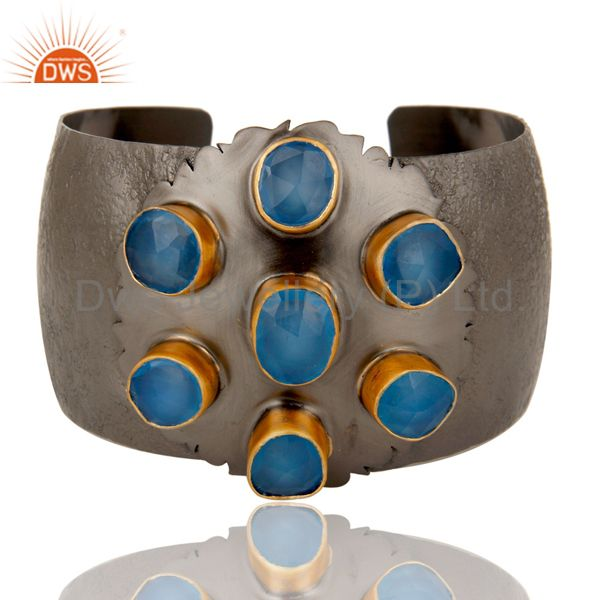 Traditional Design 18k Gold Plated Brass Cuff with Dyed Blue Chalcedony