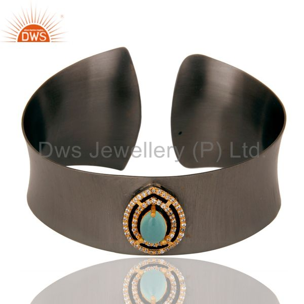 Black Oxidized Comfort Fit Wide Cuff Made With Aqua Chalcedony and Zircon