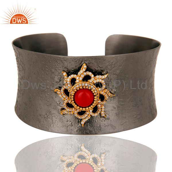 Black Oxidized Comfort Fit Wide Cuff Unique Bangle with Coral and Zircon