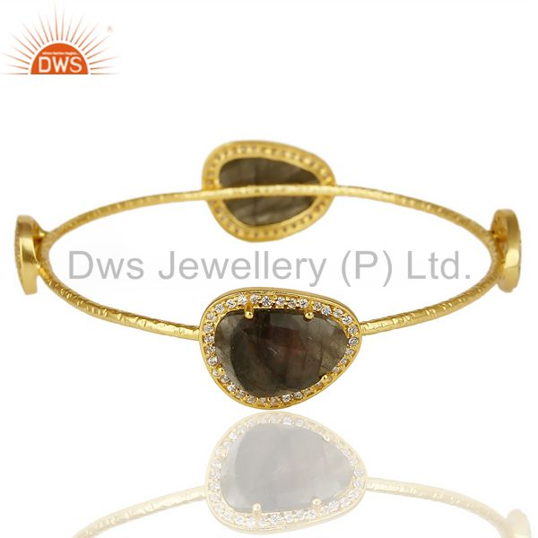 Labrodorite Free Shape Fashion Bangle Studded With Cz Exclusive Jewelry