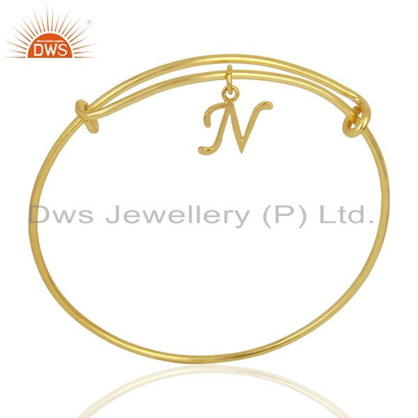 Gold Plated N Initial Openable Adjustable Wholesale Fashion Bracelet Jewelry