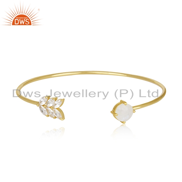 Gold Plated Brass Fashion Rainbow Moonstone Cuff bracelet Wholesale Supplier