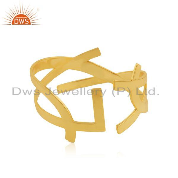 18k Yellow Gold Plated Brass Fashion Designer Cuff Bangle Manufacturer India