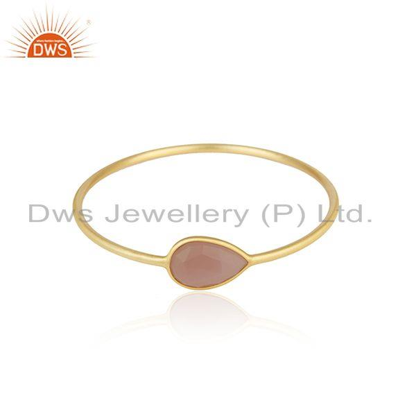 Gold Plated Brass Rose Chalcedony Gemstone Bangle Manufacturer