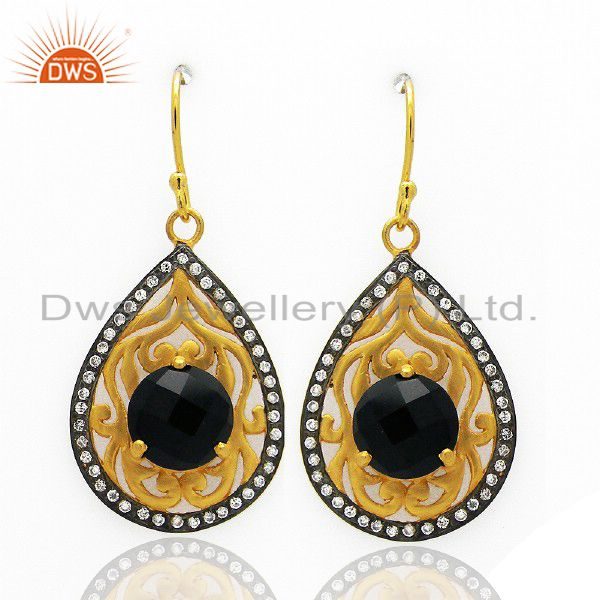 18K Yellow Gold Plated Brass Black Onyx & Cubic Zirconia Fashion Dangle Earrings