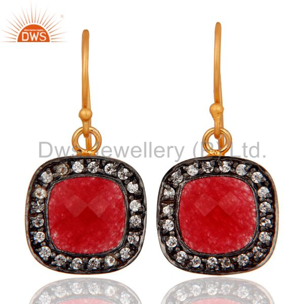 18K Yellow Gold Plated Brass Red Aventurine Gemstone And CZ Earrings