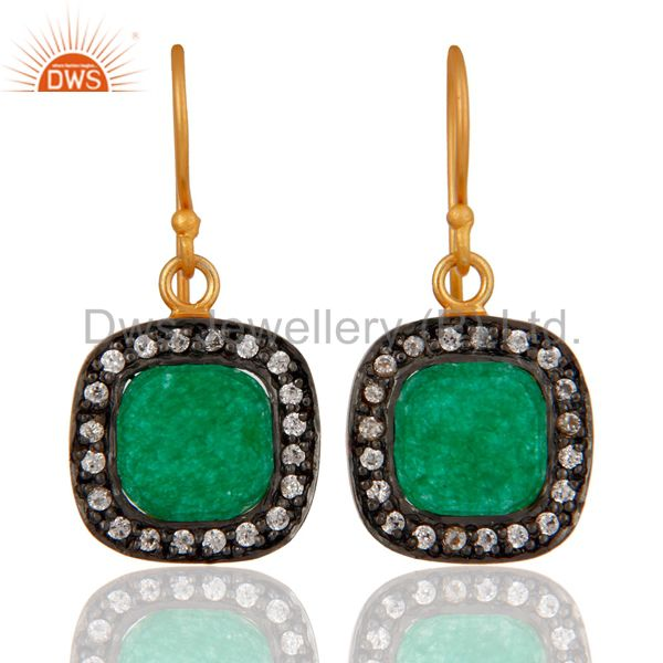 Natural Green Aventurine And White Zircon Gold Plated Fashion Earrings