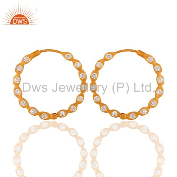 Handmade White Cubic Zirconia 18-Kt. Yellow Gold Plated Over Brass Hoop Earring