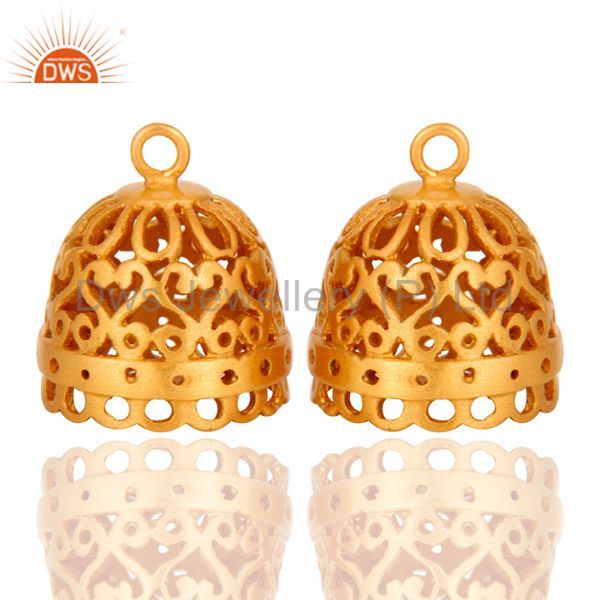 18K Yellow Gold Plated Brass Jhumka Finding Earrings Jewelry