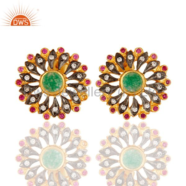 Green Aventurine And Cubic Zirconia Stud Fashion Earrings Gold Plated