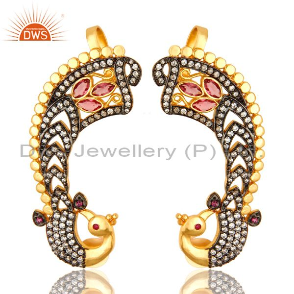 14K Yellow Gold Plated Brass CZ And Pink Glass Peacock Fashion Ear Cuff Earrings