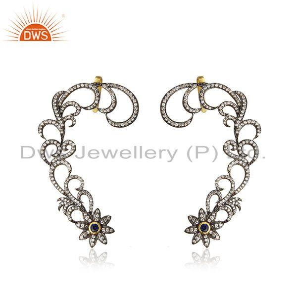14K Yellow Gold Plated Blue Corundum And CZ Rhinestone Fashion Ear Cuff Earrings
