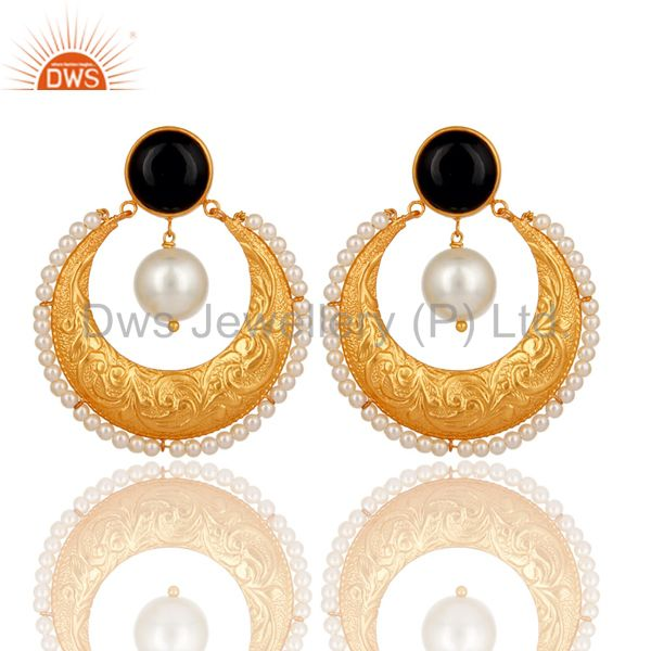 Handmade Black Onyx, Pearl & CZ Indian Ethnic Earrings In 14K Gold Over Brass