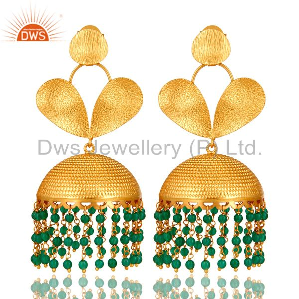 18K Matte Yellow Gold Plated Green Onyx Indian Designer Jhumka Earrings