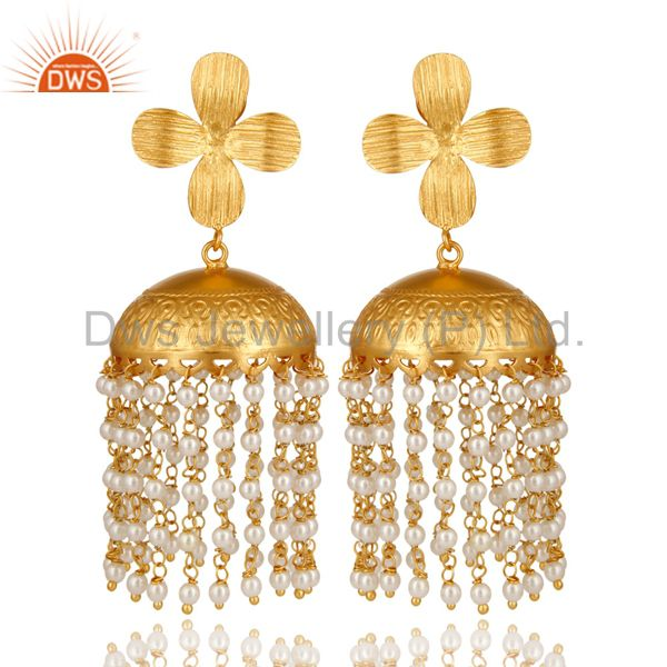 22K Yellow Gold Plated South Indian Fashion Jhumka Earrings With Pearl Beads