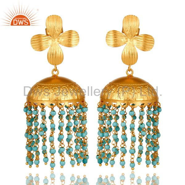 Traditional Handmade 22K Gold Plated Turquoise Beaded Jhumka Dangle Earrings