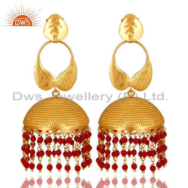 Traditional Handmade 22K Gold Plated Red Coral Bead Jhumka Dangle Brass Earrings