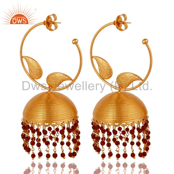 18K Gold Plated Indian Fashion Jhumka Earringsin brass With Red Onyx