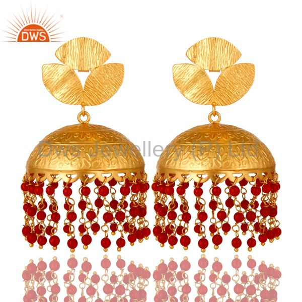 22K Yellow Gold Plated Brass Red Coral Beads Ethnic Designer Jhumka Earrings