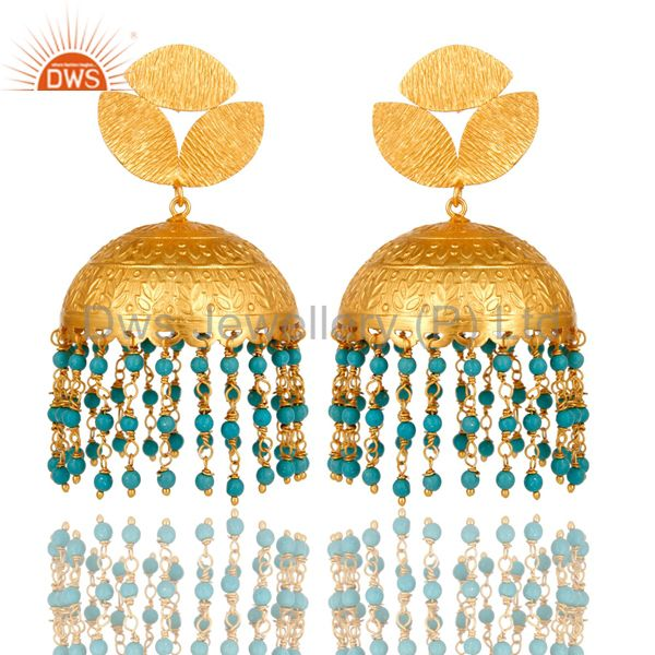 22K Matte Yellow Gold Plated Turquoise Floral Engraved Indian Jhumka Earrings