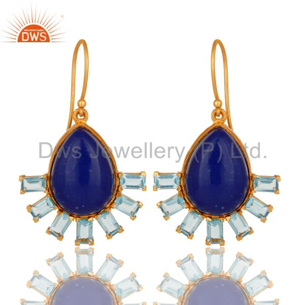 Natural Lapis Lazuli & Blue Topaz Glass 18K Gold Plated Drop Earrings