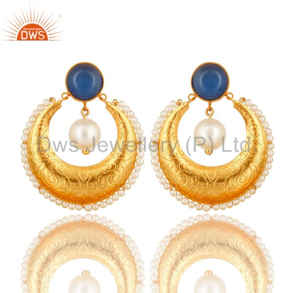 Blue Chalcedony Gemstone And Pearl Ethnic Designer Earrings In 14K Gold On Brass