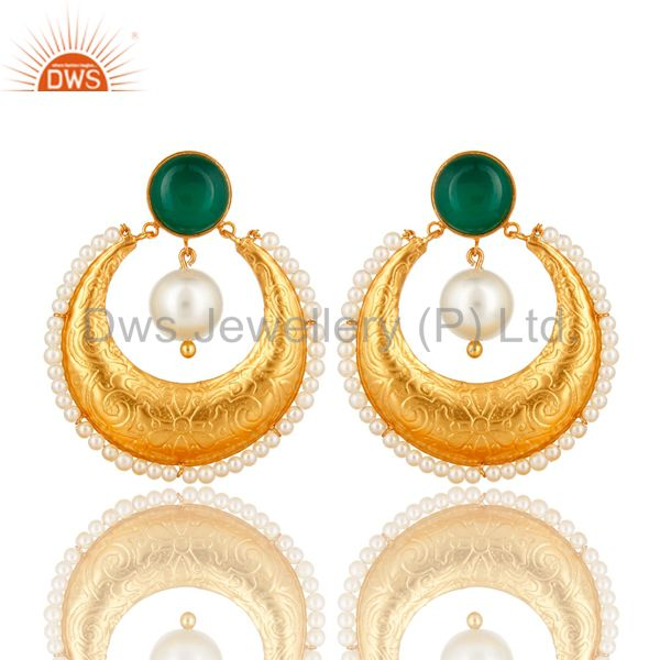 Green Onyx Gemstone And Pearl Ethnic Designer Earrings Made In 14K Gold On Brass