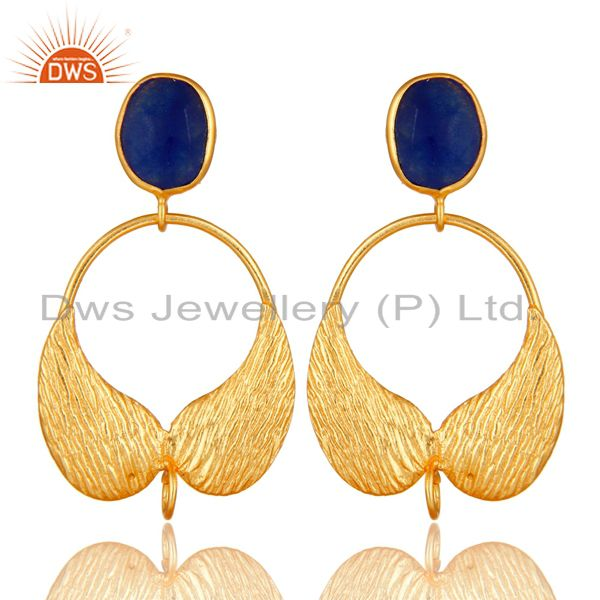 18K Gold Plated Brass Blue Aventurine Angel Wing Designer Dangle Post Finding