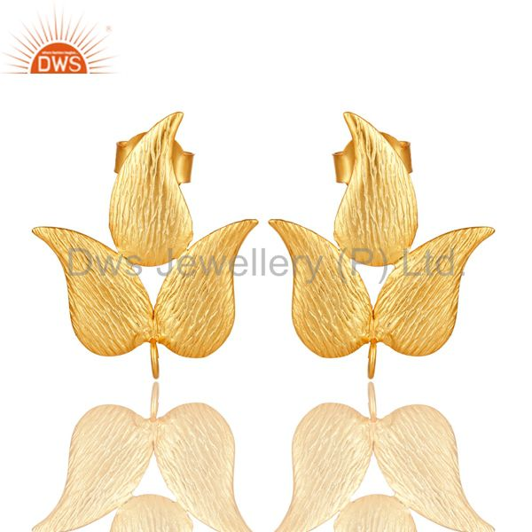 18K Yellow Gold Plated Brass Brushed Finish Leaf Design Post Stud Finding