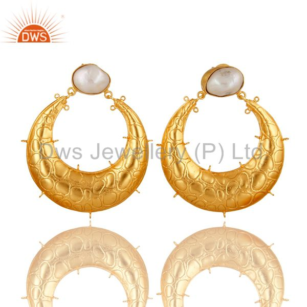 Handmade Natural Pearl 18K Yellow Gold Plated Brass Designer Finding