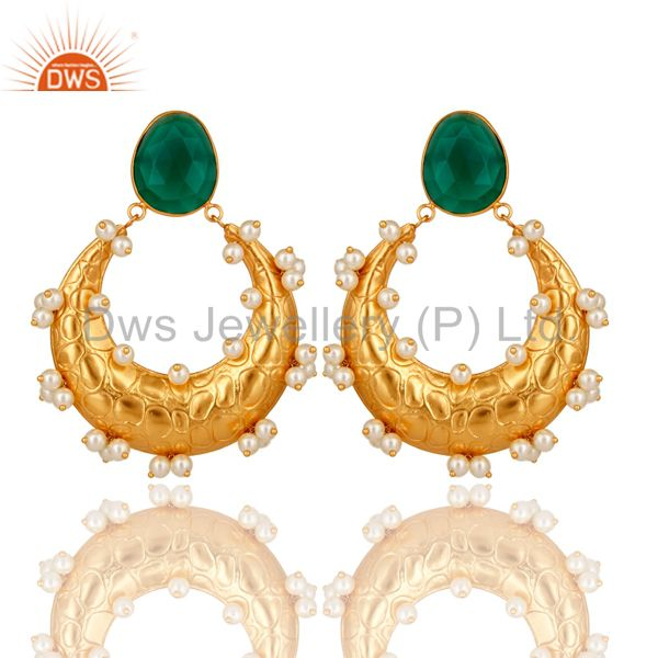Pearl and Green Onyx 18K Gold Plated Dangler Earring Indian Traditional Earring