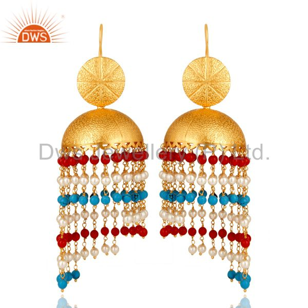 22K Yellow Gold Plated Brass Turquoise, Red Coral & Pearl Jhumka Dangle Earrings