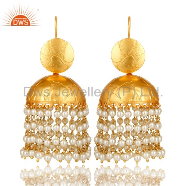 24K Yellow Gold Plated Brass Pearl Beads Indian Traditional Jhumka Earrings
