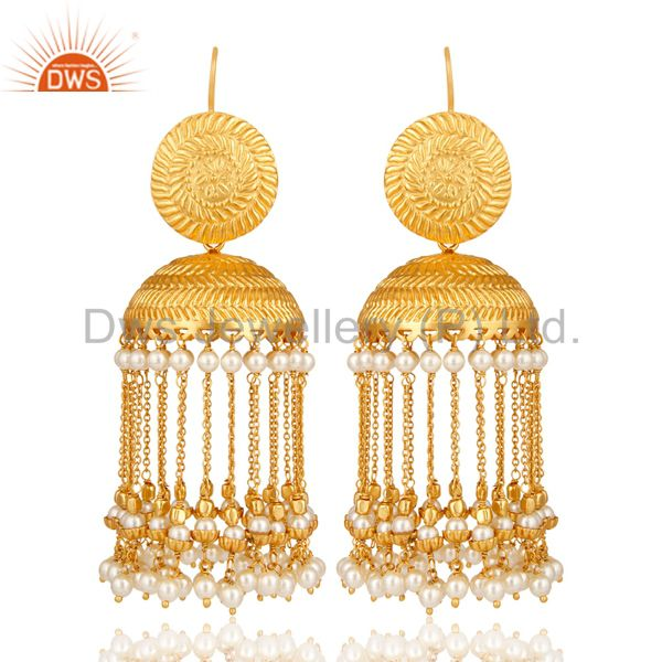 Pearl Beads 18K Yellow Gold Plated Traditonal Jhumka Brass Earrings Jewelry