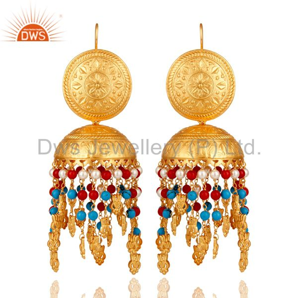 18K Gold Plated Coral Pearl and Turquoise Cultured Traditional Jhumki Earring