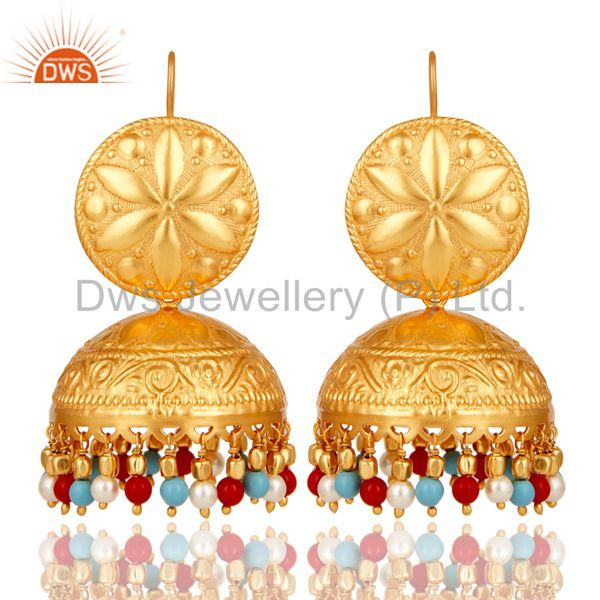18K Gold Plated Pearl Coral and Turquoise Cultured Traditional Jhumki Earring