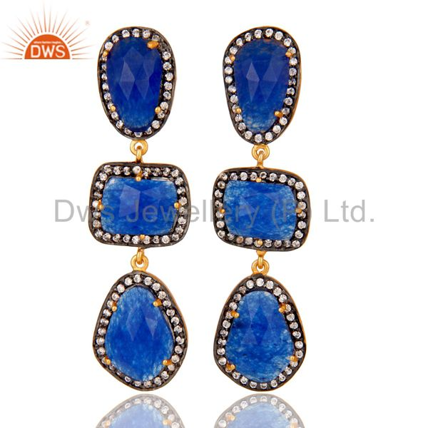 18K Gold Plated Blue Aventurine and White Zircon Dangle Drop Earring