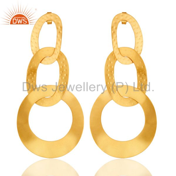 18k Gold Plated Traditional Chain Design Brass Drop Earrings