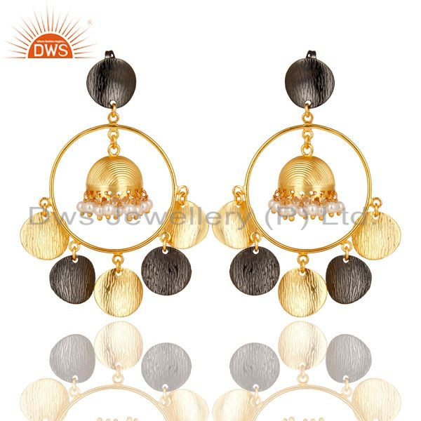 14K Yellow Gold Plated Traditional Handmade Pearl Round Beads Jhumka Earrings